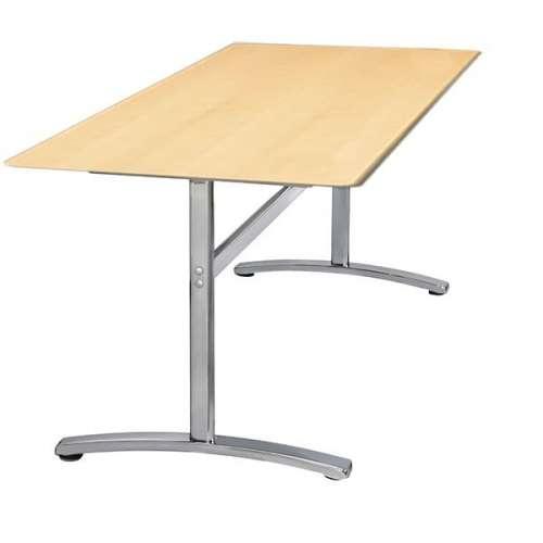 Sort skrivebord med fast stel