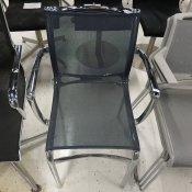 Konf.stol, Alias, Mørk blå net/Blankt stel m/armlæn