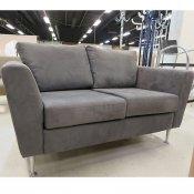 2 pers. Sofa, Gråt microfiber, Blanke ben