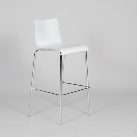 jk Agger barstol - krom stel - hvid skal
