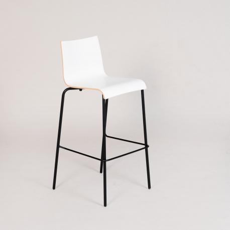jk Agger barstol - sort stel - hvid skal
