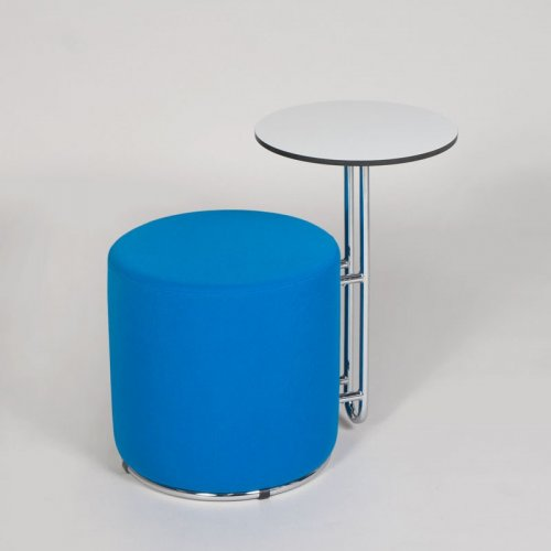 Puf Ø45 cm. med bord med blå polster