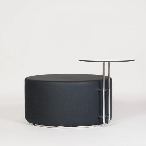 Puf Ø90 cm med bord, sort kunstlæder