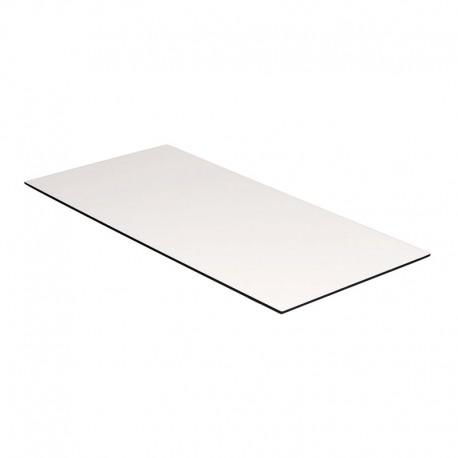 Kantinebordplade 180x80 cm. Hvid m/ sort kant.