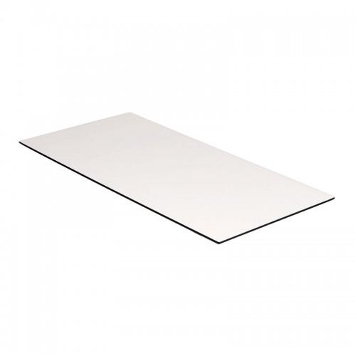 Kantinebordplade 140x80 cm. Hvid m/ sort kant
