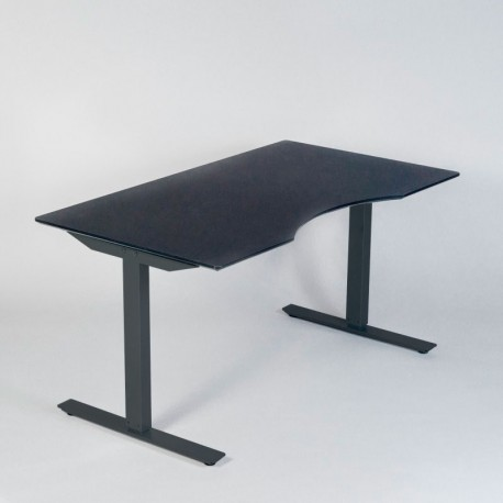 jk hæve-/sænkebord - 160x80 cm - sort linoleum
