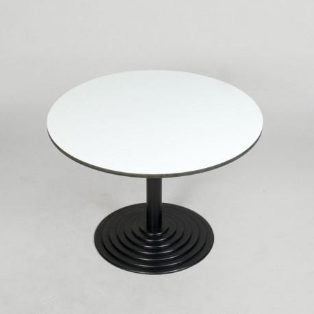 Cafébord - Hvid bordplade - Sort stel