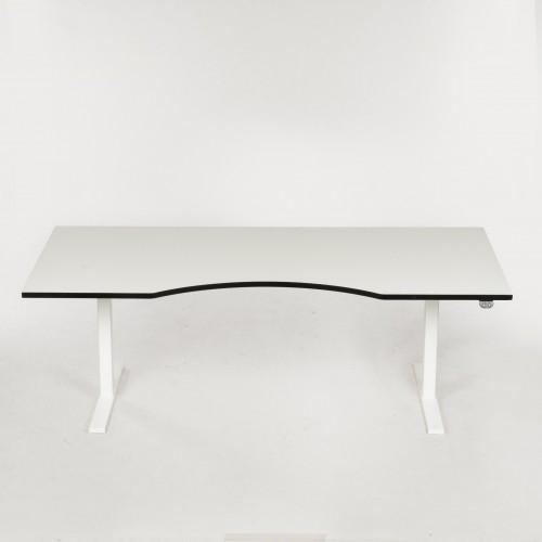Hæve-/sænkebord - Hvid - Centerbue - 180x90