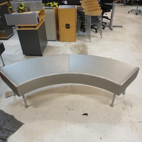 Silver/sølv loungebænk - buet