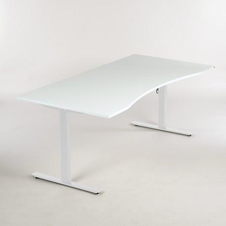 Kinnarps - hæve-/sænkebord - Hvid laminat m. centerbue - 180x90