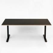Hæve-/sænkebord 140x80 cm - Sort linoleum med krydsfinér - sort Loke stel