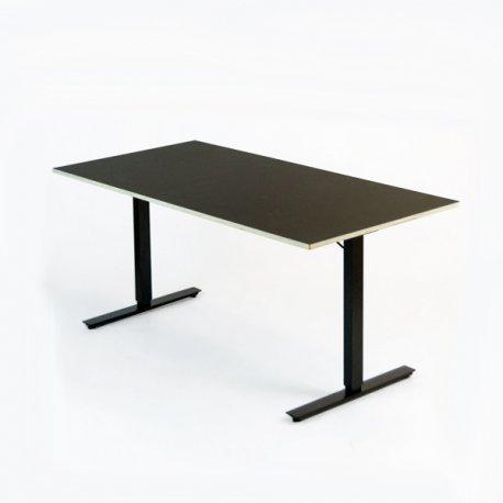 Hæve-/sænkebord 140x70 cm - sort linoleum med krydsfinér kerne - sort Loke stel
