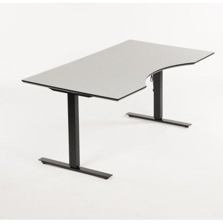 Hæve-/sænkebord - Grå laminat m. sorte kanter - Centerbue - 160x90
