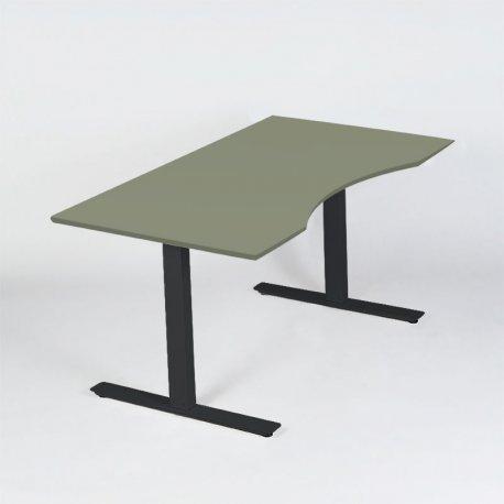 Hæve-/sænkebord 140x80 cm - Olive linoleumsplade - sort Loke stel
