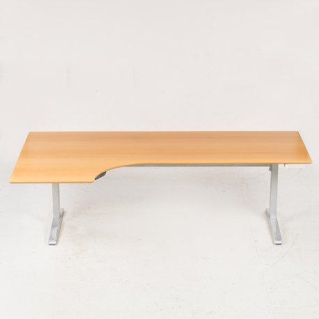 Hæve/ sænkebord - bøg - venstrevendt - 220x80/120 cm.