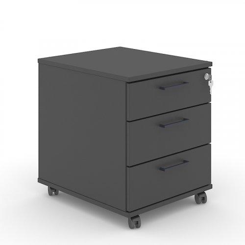 Optima skuffekassette - 3 skuffer - antracit decor - hjul - centrallås - antracit greb - 51x41,5x50 - (NAR PSR532-N1-T1X)
