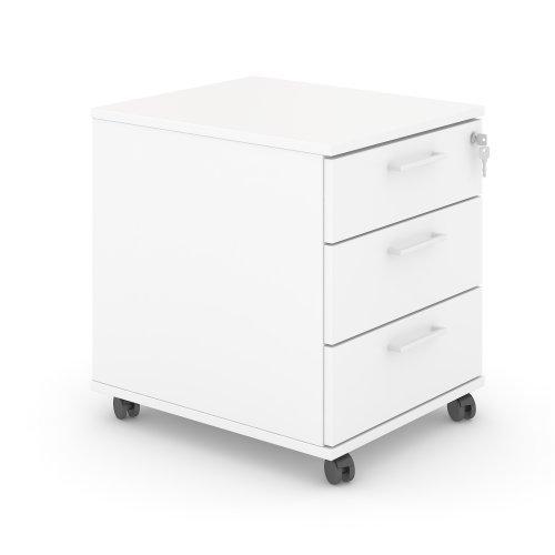 Optima skuffekassette - 3 skuffer - hvid decor - hjul - centrallås - hvide greb - 51x41,5x50 - (NAR PSR532-M1-EX)