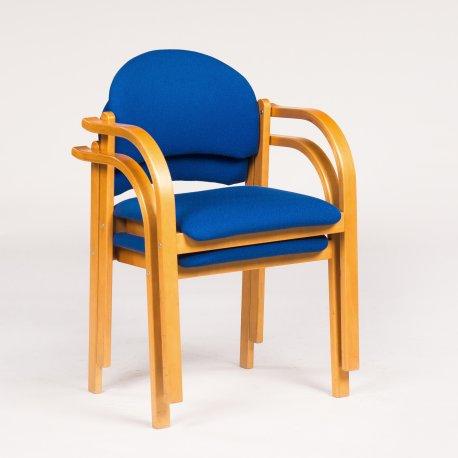 Konferencestol med armlæn - kirsebær - blå