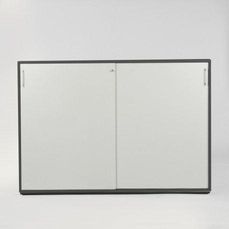 Jive skydedørsskab - 3rh - antracit grå decor m. hvide låger - inkl pladesokkel og lås - alugreb - 113x160x42 (FM 2-160-40L)