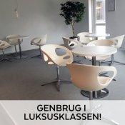 Cafésæt m. 3 Fritz Hansen stole - rundt hvidt bord