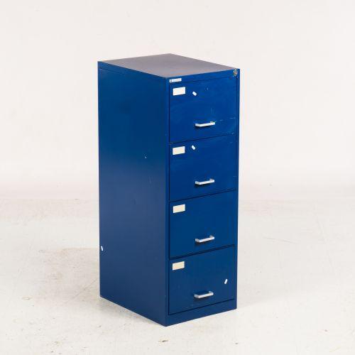 Arkiv skab - blå metal - sølv greb
