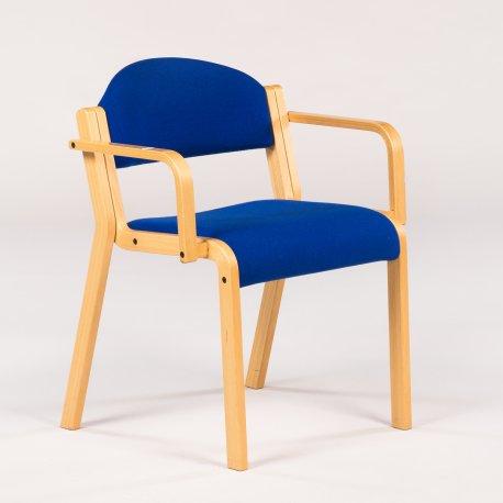Konferencestol - bøg m blå polstring