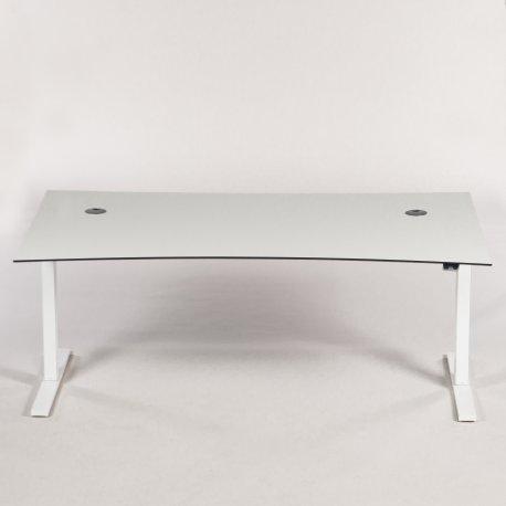 Hæve-/sænkebord - hvid - fuld bue