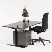 Arbejdsstation - hæve-/sænkebord + kontorstol + skuffekassette
