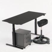 Arbejdsstation - hæve-/sænkebord + Backapp + skuffekassette