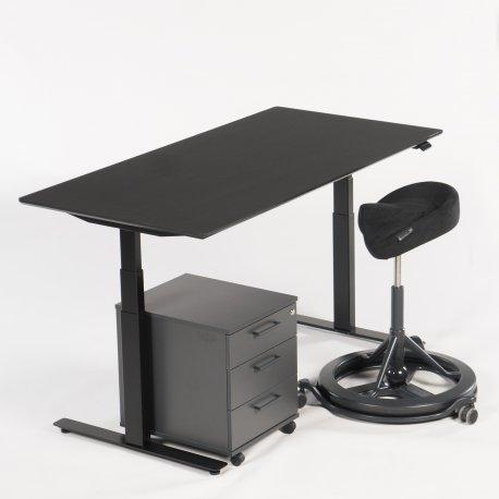 Arbejdsstation - hæve-/sænkebord + Back App + skuffekassette