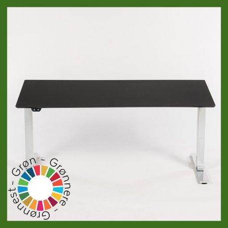 Hæve-/sænkebord - sort linoleum - 160x80 cm