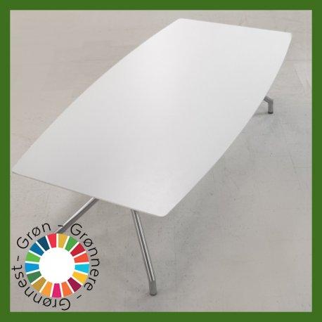 Konferencebord - tøndeformet - hvid - 240x120/100 cm