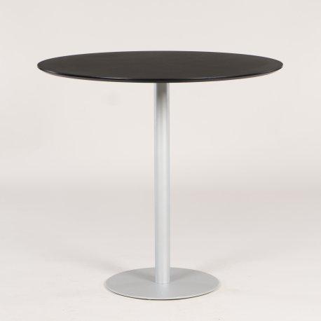 Højt cafebord - sort plade - silver metal søjle