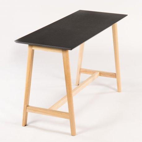 Nova Wood højbord - sort linoleum - træ stel - 180x70x105cm - Demo