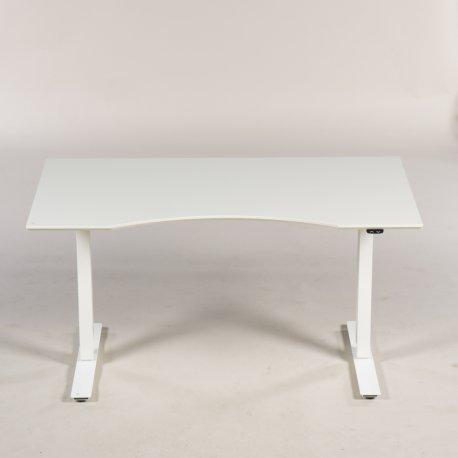 Hæve-/sænkebord - hvid bordplade m. centerbue - 140x80