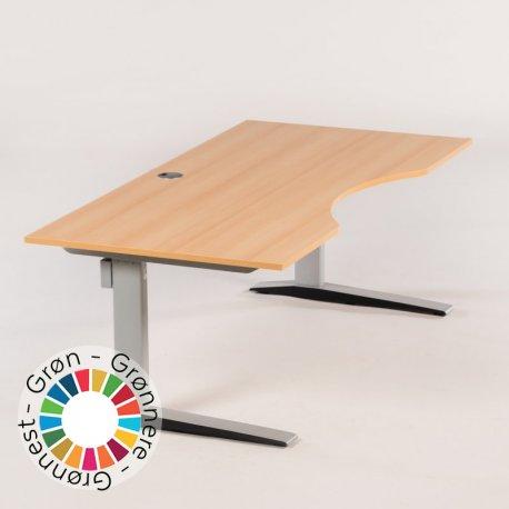 Hæve-/sænke bord - bøge laminat - m. centerbue - silver stel - 180x90 cm