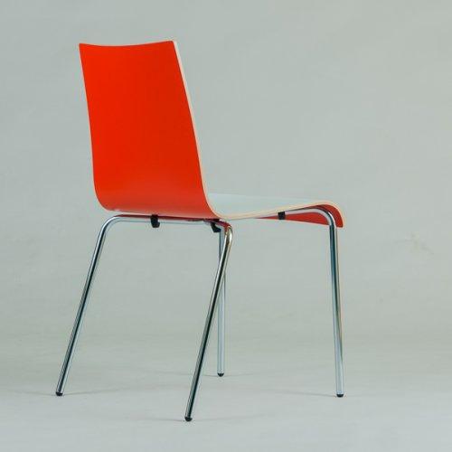 jk Agger stol - Hvid front/rød ryg m. sort stel