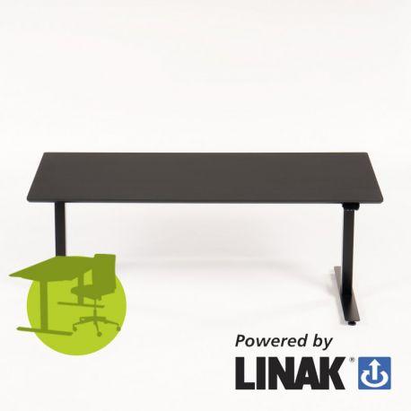 Linak hæve sænkebord - 160x80 cm - sort linoleum - sort stel - Odin