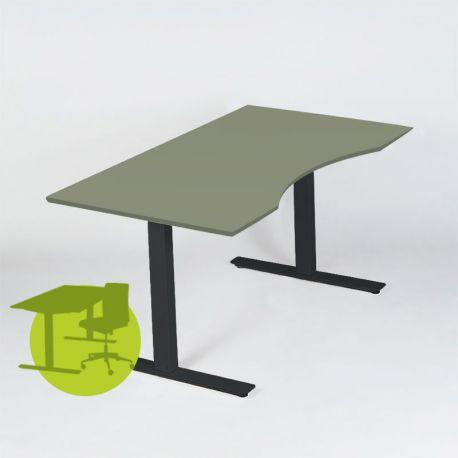 Hæve-/sænkebord 180x90 cm - Olive linoleumsplade - sort Loke stel