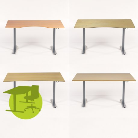 Brugt bordplade m/ nyt hæve-/sænkestel - OPRYDNINGSSALG