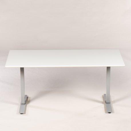 Hæve-/sænkebord - hvid plade og gråt stel