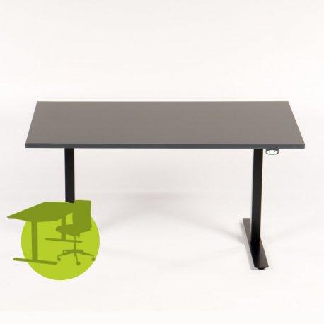 Hæve-/sænkebord - 140x80 - antracit grå - sort stel - Loke