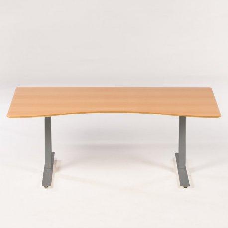 Hæve-/sænkebord - bøge bordplade og hvidt stel
