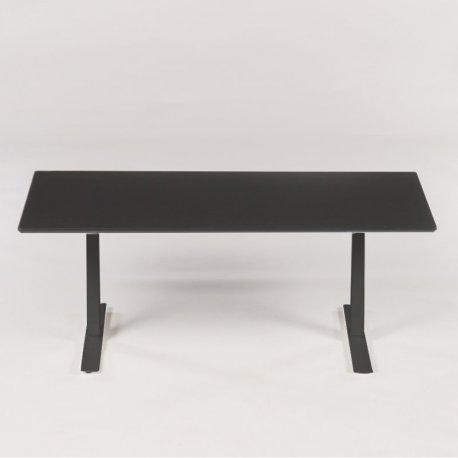 Hæve-/sænkebord - sort bordplade og hvidt stel