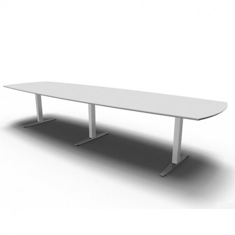 Square konferencebord - hvid laminat - 300 cm - gråt stel