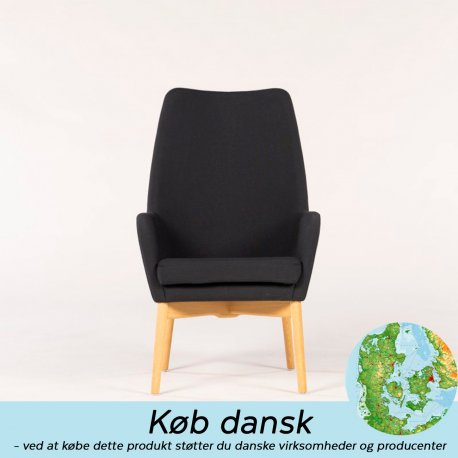 Skipper Uni stol høj træ - Lænestol grå