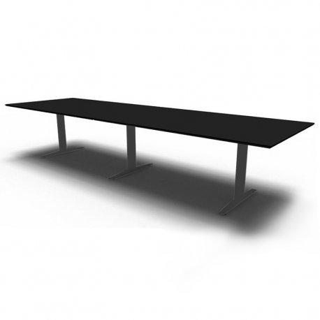 Rektangulær konferencebord  - Sort linoleum - 360x110/90 - alu stel.