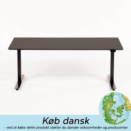 Linak hæve-/sænkebord - 160x80 cm - sort linoleum - sort stel - Odin