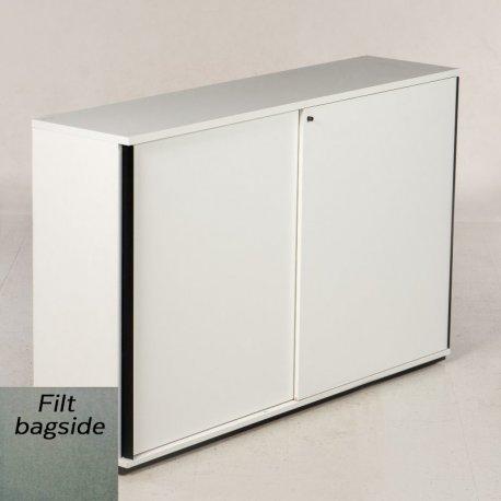 Ragners reol - 114x90x45 - hvid - filt bagside