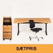 Arbejdsstation - kirsebærbord bord og kassette + Håg kontorstol